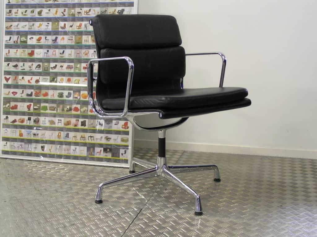 Acht vitra eames ea 208 chroom zwart leder dodesign - Originele eames fauteuil ...