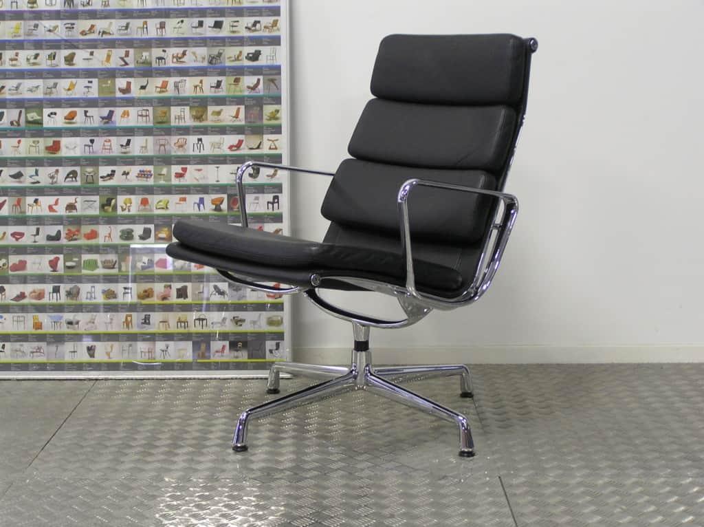 Vitra eames ea 216 chroom zwart leder dodesign - Originele eames fauteuil ...