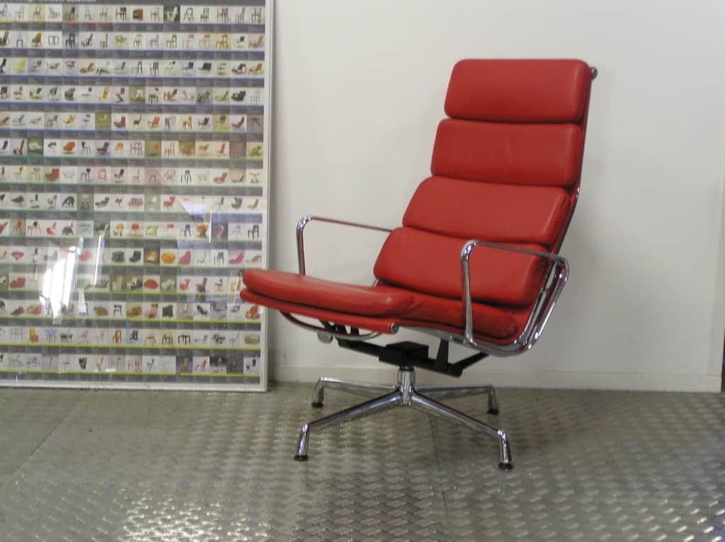 Vitra eames ea 222 chroom rood leder dodesign - Originele eames fauteuil ...